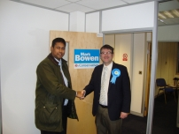 Annesley campaigning in the Feltham and Heston By-election with Mark Bowen who was our candidate.