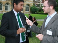 Annesley taking part in an interview at the 2007 E-politix reception