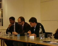 Annesley taking part in a debate for the UCL Conservative Society
