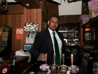 Annesley behind the bar at the \'Rovers Return\' on Coronation Street!