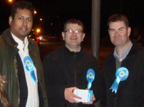 (L to R) Annesley campaigning in the Feltham and Heston By-election with Mark Bowen and Treasury Minister - David Gauke MP