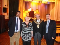 Annesley with (L to R): Jackie Jones, Cllr Les Jones (Mayor and Mayoress of Stockport as of March 2012), and Stephen Holland - Conservative PPC for Stockport in 2010