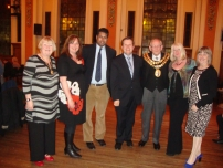 Annesley with the Mayor and Mayoress of Stockport and Conservative Councillors (L ro R): Jackie Jones (Mayoress of Stockport), Cllr Lisa Walker, Annesley, Stephen Holland, Cllr Les Jones (Mayor), Barbara Judson (candidate for Heatons Norh ward in 2012), and Cllr Linda Holt