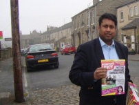 Annesley campaigning in the Bradford West by-election.