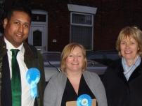 Annesley supporting local election candidate - Sally Bennett (centre) in Bredbury Green & Romiley ward, Stockport Borough (2012).