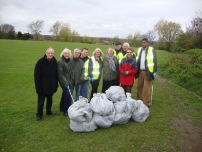 Annesley on a litter pick in the Priestnall School playing fields in Stockport.