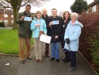 Annesley supporting local election candidate Linda Holt in Bramhall North ward, Stockport (2012).