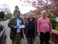 Annesley supporting local election candidate John Wright in Stepping Hill ward, Stockport (2012).