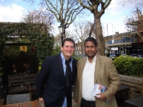 Annesley with the lead singer of Spandau Ballet - Tony Hadley on the Back Boris campaign trail in Highgate, North London.