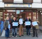 Annesley campaigning with the Greater Manchester Conservative Police Commissioner Candidate, Michael Winstanley in Hazel Grove.