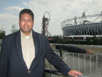 Annesley outside the Olympic Stadium on the last day of the Olympic Games, London 2012