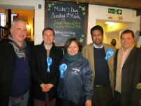 Annesley and fellow activists pictured here with the Conservative candidate for the Eastleigh parliamentary by-election - Maria Hutchings in February 2013.