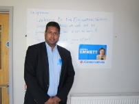 Annesley campaigning for Christine Emmett at the Corby and East Northants by-election - autumn 2012.