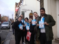 Annesley campaiging for Boris Johnson in Highgate with local activists