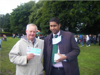 Annesley bumps into an enthusiastic supporter at the Hazel Grove Carnival 2008