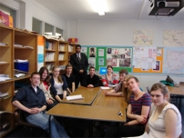 Annesley with A-level students at Cheadle & Marple Sixth Form College