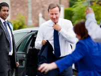 Annesley welcoming Conservative Party Leader, The Rt Hon David Cameron MP to Hazel Grove