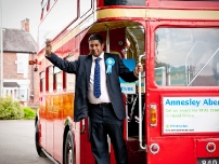 Annesley leaving the location on his bus