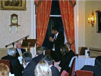 Annesley speaking at his fundraising dinner with Sir John Major for the election campaign