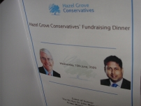 The menu welcome page for his election fundraiser with Sir John Major