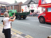 Annesley and his bus takes part in the Hazel Grove Carnival procession in 2009
