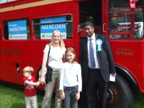 Annesley with some visitors to the Hazel Grove Carnival