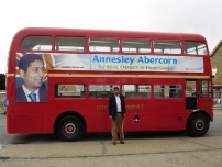 Annesley outside his battle bus