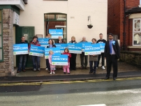 Annesley with some activists outside the Romiley Conservative Club