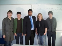 Annesley with some students at Aquinas College after having addressed the A-level politics students there