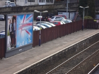 Annesley's campaign billboard at Marple railway station