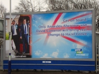 Annesley's campaign billboard at Hazel Grove railway station