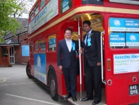 Annesley with his election agent, Jonathan Labrey and the battle bus