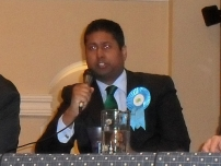 Annesley taking part in the Hazel Grove Constituency election hustings