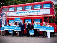 David Cameron, Annesley and activists outside the bus