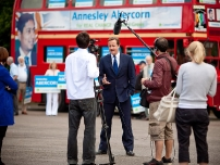 David Cameron doing a piece to camera endorsing Annesley