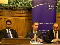 Chairing an event on business and entrepreneurship with Rt Hon Kenneth Clarke QC, MP and Dragons\' Den star Theo Paphitis