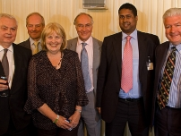 Annesley with 5 prominent former Bow Group Chairmen – (left to right: Norman Lamont, Peter Lilley, Cheryl Gillan, Michael Howard, Annesley, Nigel Waterson)