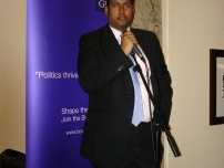 Annesley speaking at the Bow Group Reception at the Conservative Party Conference in 2009