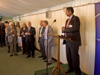 Annesley speaking at the 2009 Bow Group Summer Reception in the presence of several prominent past chairmen: Geoffrey Howe, Cheryl Gillan, Norman Lamont, Peter Lilley, Michael Howard