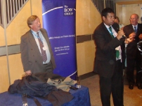 Annesley introducing Secretary of State for Justice & Lord Chancellor at the Bow Group Reception during the 2010 Conservative Party Conference in Birmingham