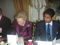 Annesley having dinner with former Prime Minister, The Rt Hon Baroness Thatcher in May 2004