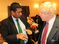 Annesley with Mayor Boris Johnson at a fundraising dinner in Friern Barnet.
