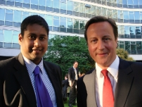 Annesley with David Cameron at the Conservative Party Staff Barbeque in 2009