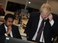 Annesley telephone canvassing with Mayor Boris Johnson at Conservative Campaign Headquarters in London - February 2012