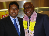 Annesley with celebrity TV Chef, Ainsley Harriott at the House of Commons Tiffin Restaurant Awards, 2009