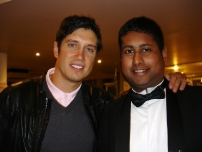 Annesley with gameshow host Vernon Kay at a Strictly Come Dancing after show party at the BBC