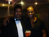 Annesley with Hollyoaks star Ricky Whittle at a Strictly Come Dancing after show party at the BBC