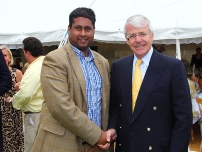 Annesley with former Prime Minister, Rt Hon Sir John Major at a cricket match in Buckinghamshire to raise money for armed forces charities.