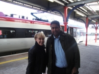 Annesley with Sally Dynevor who plays \'Sally Webster\' in Coronation Street at Stockport railway station
