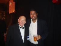 Annesley with the legendary Martin Fitzmaurice - longstanding English darts master of ceremonies and referee. BDO World Darts Championship 2012